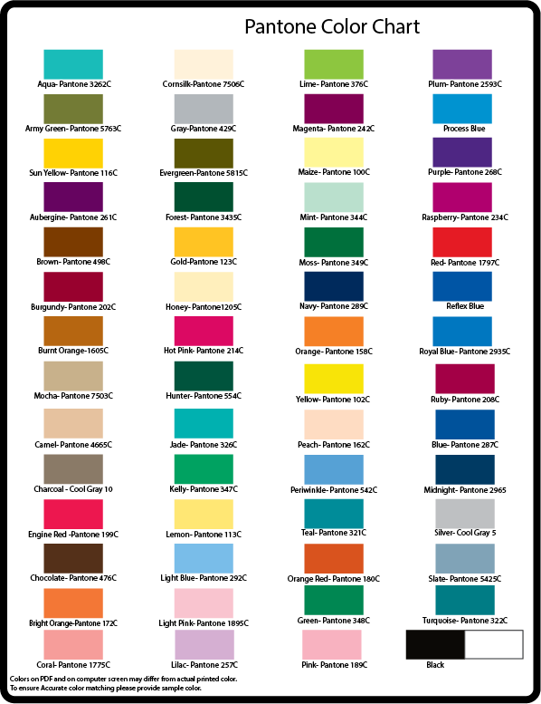 Basic Pantone Color Chart
